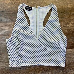 Bebe Black & White Striped Crop Top